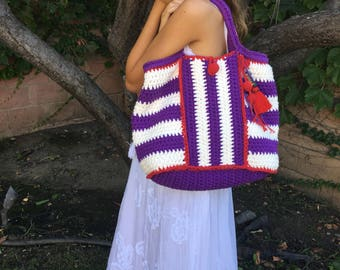 Crochet stripe cotton shoulder bag