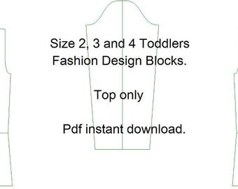 Fashion Design Blocks for 2, 3 and 4 year olds. Measurement charts in inches and cms. Instant PDF download.