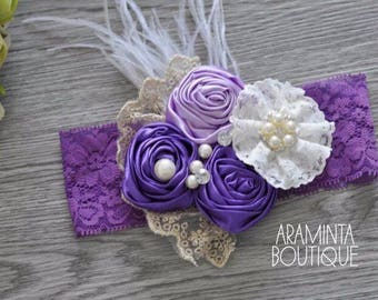 Baby Flower Headbands, Pearls, Diamante & Lace Headbands. Purple and White. Unicorn Headbands. Cake smash, Birthday and Party Accessories