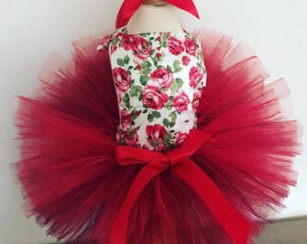 Floral baby romper and tutu set, easter baby, baby romper, baby outfit, red tutu, baby onesie, baby set, cakesmash outfit,