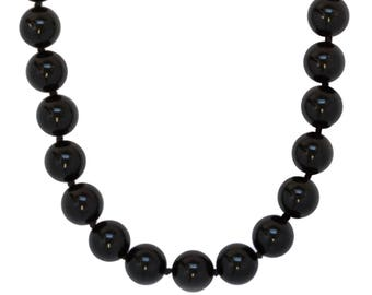 8mm Black Onyx Bead Necklace, 925 Sterling Silver Clasp