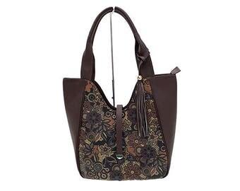 CHRISTMAS BAGS COLLECTION-brown Floral leather Handbag
