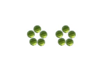 Peridot Round Rose Cut Faceted Cabochons 3x3, 4x4, 5x5, 6x6 mm 100% Natural/Non-Heated/Non-Treated Gemstones For Designer Jewelry