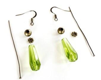 KIT DIY BO Gouttes facettées vert Olive - création boucles d'oreilles