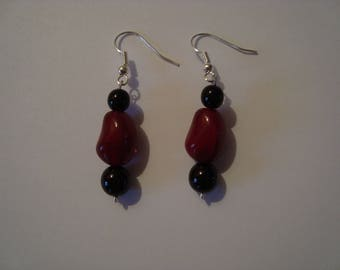Earrings, red and Black 2