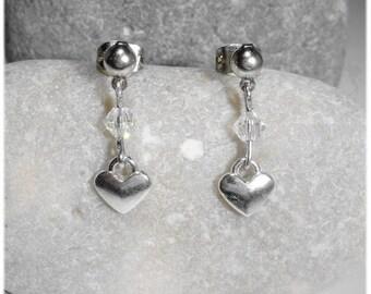 """""""Joli coeur"""" Stud Earrings silver and Crystal"""