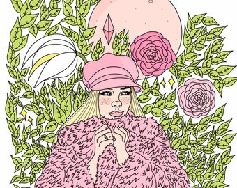 Princess Jo in pink and plants + Print