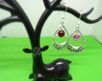 Earrings with Fuchsia agate bead