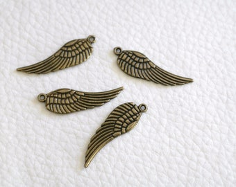 2 bronze 30 mm Angel Wings feather charms