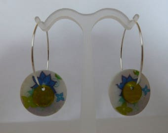 "Creole earrings ""blue flower button"" new"