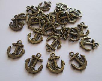 25 breloque ancre marine en métal couleur bronze 17 x 14 mm