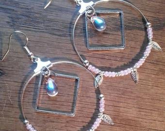 Hoop earrings diamond drop Pink/Purple