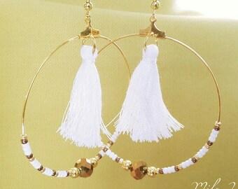 Tassel hoop earrings white