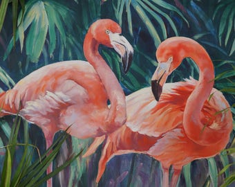 Oil painting of two pink flamingo on a tropical background with green palm leaves