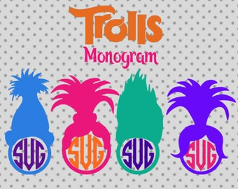 Trolls Monogram SVG, Trolls hair Svg, Trolls Cut Files, Trolls Cricut, trolls silhouette, Trolls Monogram