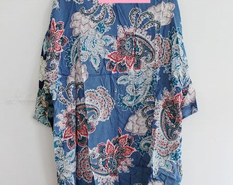 Blue Kimono with Boho Print