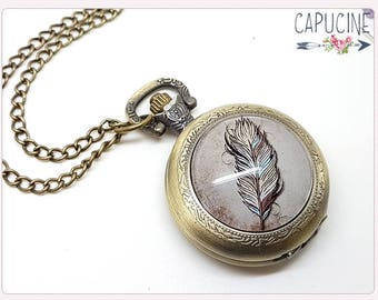 Feather Pocket Watch Necklace - Necklace watch bronze with feather - Glass dome dreamcatcher