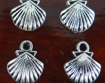 14 charms silver metal shell pendent - bc263