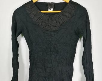 Anna Sui womens long sleve t shirt black sz S