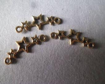 x 5 connectors form 3 stars color gold plated 25 x 10 mm