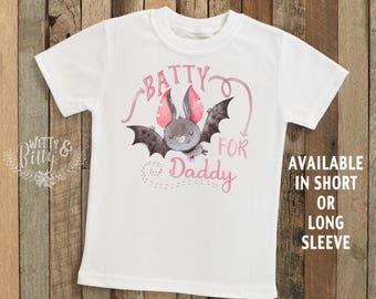 Batty For Daddy Halloween Bat Shirt, Halloween Tee, Girls Halloween Shirt, Boys Halloween Tee, Boho Halloween Shirt - T267B