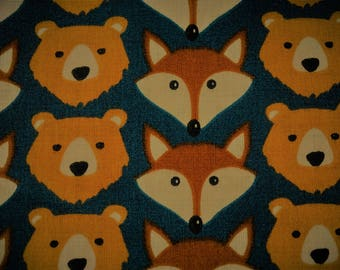 """Teddy bear and Fox"" print cotton fabric"