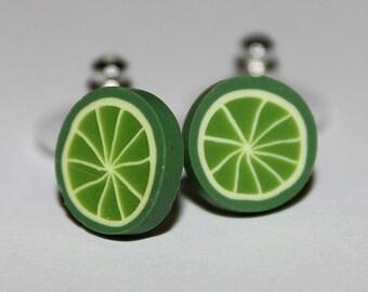 Lime Earrings / Lime Studs / Fruit Studs / Kawaii Lime Studs / Kawaii Citrus Lime Studs / Kawaii Fruit Earrings