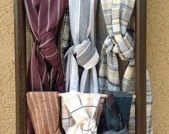 Cheich,écharpe , foulard lin/coton carreaux et lignes. Fête des pères,10 modèles différents dans la boutique.