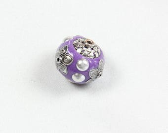 An Indonesian Kashmiri Mauve19 mm violet polymer clay and Metal bead