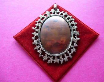 Base pour pendentif avec cabochon amovible en cuivre vintage pour le travail de l'émail ou autre 65 mm