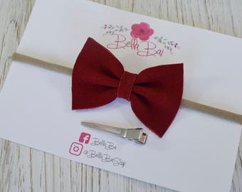 Baby Bow, Baby Headband, Red Suede Leather Bow, Breakaway Bow