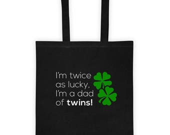 I'm Twice As Lucky, I'm A Dad of Twins St. Patrick's Day Gift Tote Bag