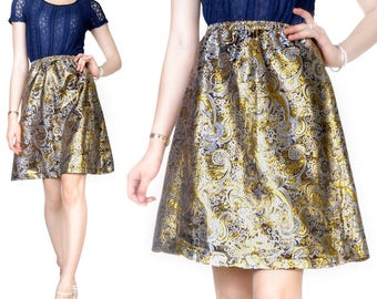 Skirt at the knee (M20) Fine embroidery Brocade