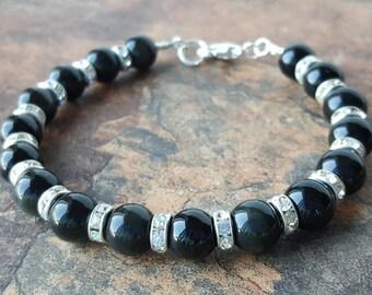 BLACK ONYX 8mm gemstone beads bracelet, rhinestones, Root chakra/Muladhara, crystal healing,  Chakra healing