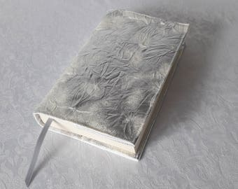 Book height 20 cm, faux silver, parchment white cotton lined