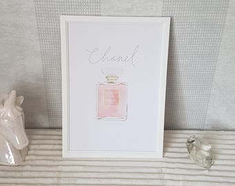 CoCo Chanel Perfume Bottle Print - A4
