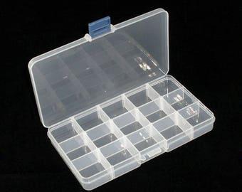 AU24 - Transparent empty storage box 15 compartments acrylic 18cm x 10.5 cm x 2.4 cm