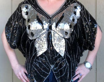 Butterfly sequin top by Shomax