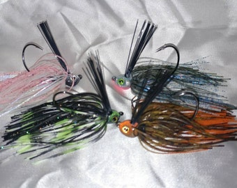 Bass Fishing Jigs Weedless Custom Made Hand Tied Silicone Tail Swim Jigs Lot of 4 Crappie Crippler Jigs