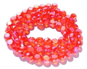 22 perles à facette cristal orange sanguine AB de 8x6 mm trou 1 mm.