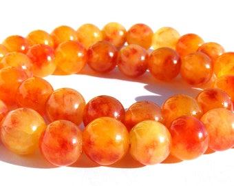 8 kunzites de 10 mm perles pierre orange sanguine et jaune.