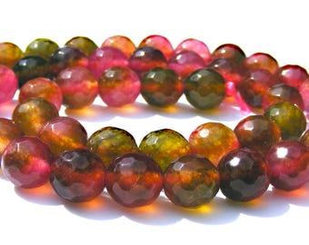 8 tourmalines colorful à facette de 8 mm.