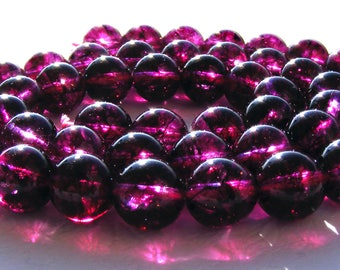 8 tourmalines de 8 mm perles pierre magenta.