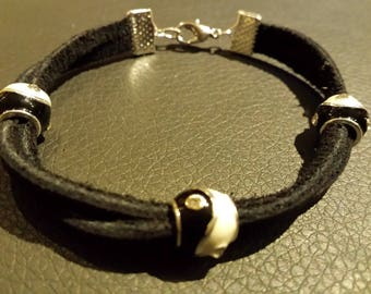 Yin Yang black leather strap