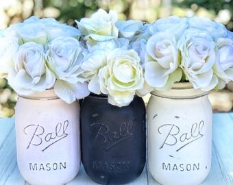Powder pink, navy, white painted Mason jars. For wedding, baby shower, baby room, kitchen, gift, flowers, mantle, cottage, chic, rustic