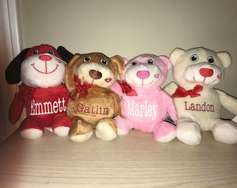 Personalized Valentines plush animal