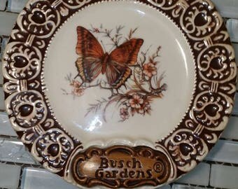 Vintage Busch Gardens Butterfly decorative wall plate