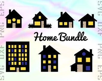 Home SVG Files - Home Dxf Files - House Clipart - House Cricut Files - Home Cut Files - Home Png - Svg, Dxf, Png, Eps Vectors