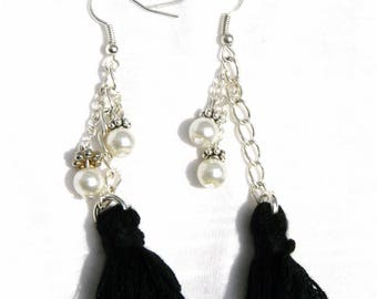 Earrings pearls and black tassels on silver plated chain