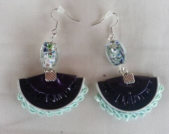 Earrings made of nespresso capsules and lace